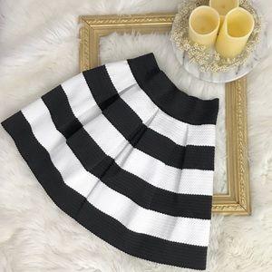 Xhilaration |Black White Striped A Line Midi Skirt